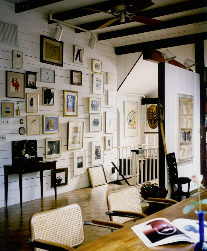 "The wall of Motherwell's living quarters in June 1983. Matisse's ""La Danseuse,"" ca. 1949 can be seen at the center surrounded by Motherwell's own works."