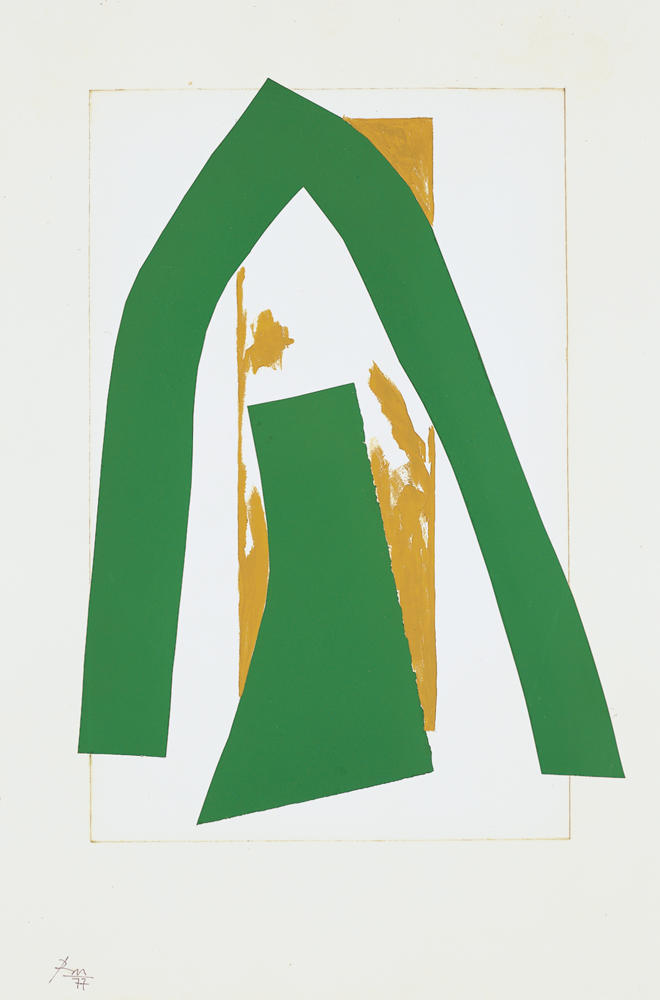 "Robert Motherwell, ""Cathedral II,"" 1977. Acrylic, pasted papers, and graphite on paper, 30 x 20 in. © Dedalus Foundation, Inc./Licensed by VAGA. New York, NY."