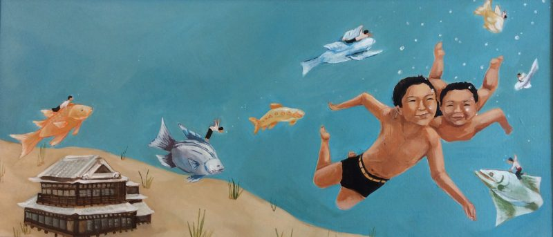 "Katie Yamasaki, Fish for Jimmy Paintings: 6_7, 2007. Acrylic on canvas, 13"" x 24"""