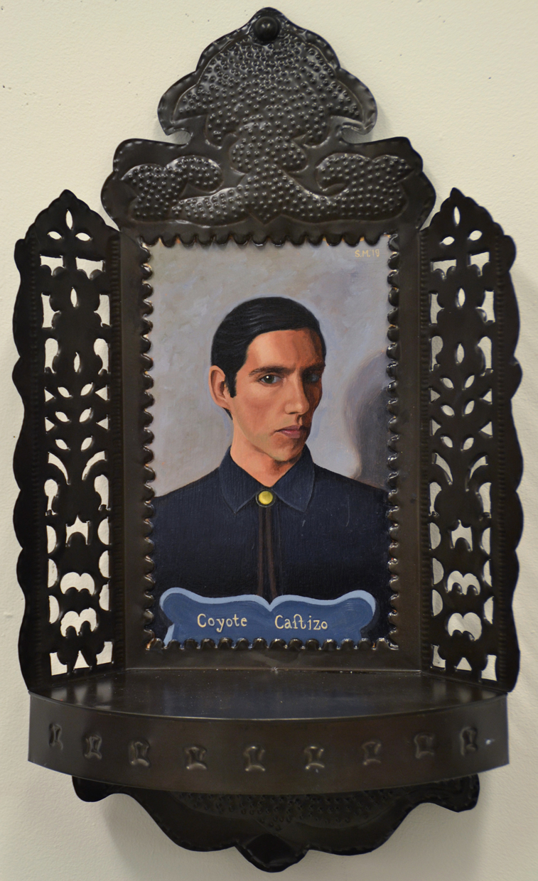 Coyote Castizo, 2019, oil on wood (found Mexican tin frame), 12.2 x 7.3 in.