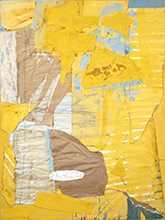 Collage in Yellow and White, with Torn Elements